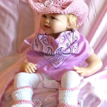 Crochet Cowboy/Cowgirl Hat & Boots,   Twirly Spurs / Newborn to 4 Year Toddler / Crochet / Rodeo / Party / Photo Prop / All Colors