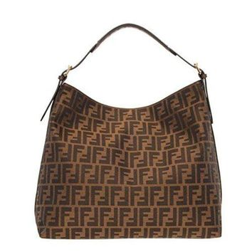 CREYTND Fendi Authentic Genuine Large Zucca Pattern Tobacco Brown Leather Borsa Hobo Bag