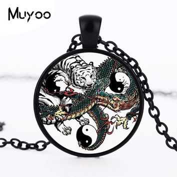 Hot Sale Chinese Dragon Tiger Tai  Yin Yang vintage Glass Photo Pendant Choker Necklace Men Women Fashion Animal Jewelry HZ1