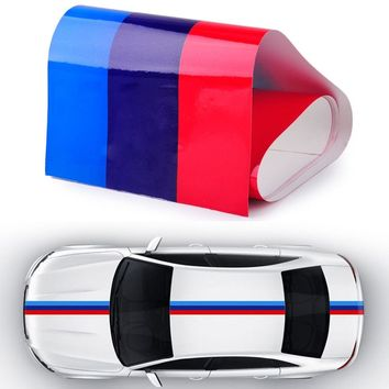 for BMW M-Colored Power Flag Stripe Sticker Decal Auto Car Hood Roof Fender 2M Car styling Body 3 color Car Stickers
