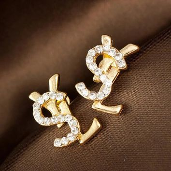 YSL Fashion Women Letter Set Auger Diamond Temperamental Personality Creative Small Ear Nail Earrings