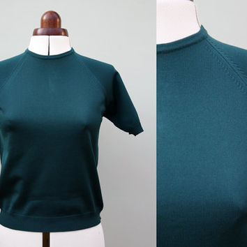 Vintage 1950s 50s green sweater girl short sleeves jumper UK 10 12 14 small medium