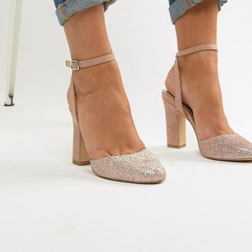 New Look Wide Fit Glitter Block Heeled Shoe at asos.com