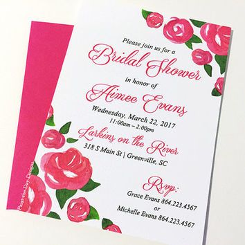 "Rose Wedding Shower - Watercolor Bridal Shower Invitation Card (Set of 25) ""Rose Garden"" Deep Pink Wedding Bridal Shower -Watercolor Wedding"