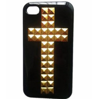 DIY Punk Style Mobile Phone Protective Skin for iphone 4 4s Skin with Gold Studs and Spikes Turquosice Case Cover  4S010