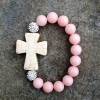 Light Pink and Cream Cross Bracelet