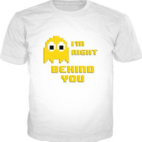Retro gaming style unisex fit, classic white t-shirt, 8bit pixel art yellow ghost, Look out!