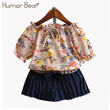 Humor Bear Summer Baby Girls Clothes Children's Clothing Flowers T shirt + Bowknot Pants Suit Girls Clothing Set