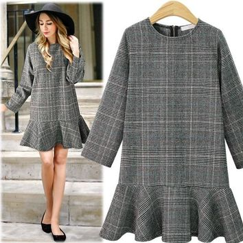 PLUS SIZE 4XL women long sleeve lattice dinner girl dress midi dresses clothing