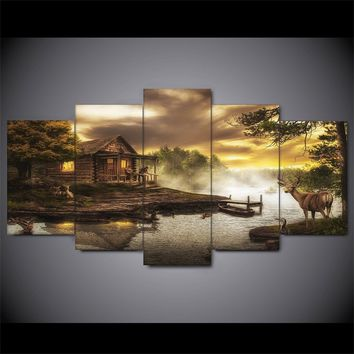 Cabin on the Lake Deer Nature Five Piece Canvas