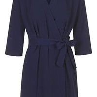 Judo Belt Wrap Dress by Boutique - Navy Blue
