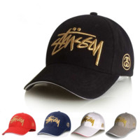 Stussy Gold Embroidered Baseball Cotton Cap Hat