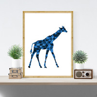 Giraffe Printable, Navy Decor, Boys Wall Art, Baby Boy Nursery Prints Giraffe Art Blue Wall Prints Printable Giraffe Geometric Animals *175*