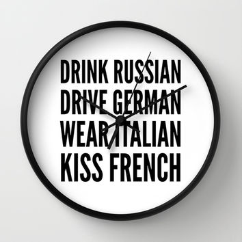 Russian German Italian French Wall Clock by CreativeAngel | Society6