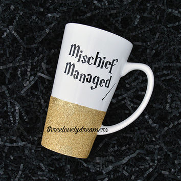 Glitter Mug / Glitter Dipped Mug / Personalized Mug / Coffee Cup / Coffee Mug - Mischief Managed Mug.