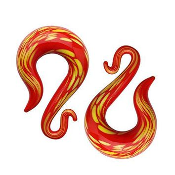 BodyJ4You Glass Spiral Taper Hanger Curved Ear Gauge Red Lava 0G 8mm Piercing Jewelry