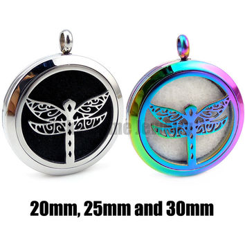 Round  Silver Dragonfly (20-30mm) Aromatherapy / Essential Oils Stainless Steel Perfume Diffuser Locket Necklace