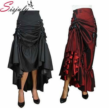 Sisjuly Three Way Lace-up Skirt Vintage Women Mid-Calf  Casual Long Gothic Skirts Fall Winter