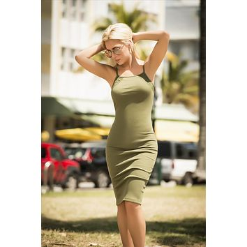 Olive Ribbed Square Neckline Crochet Detailed Resort Wear Dress (Black also available)