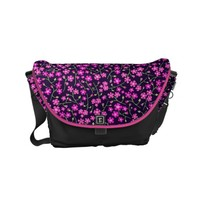 Pink flower pattern small messenger bag