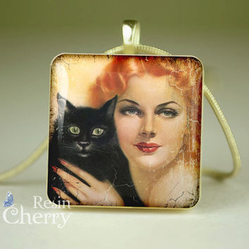 Vargas Girl and cat scrabble tile pendant,cat lover necklace pendant,jewelry pendant,resin pendant,Love my cat- D1566SP