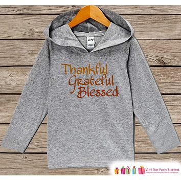 Kids Thanksgiving Outfit - Thankful Hoodie - Toddler Thanksgiving Outfit - Baby Boy or Girl Grey Pullover - Thanksgiving Grateful Blessed