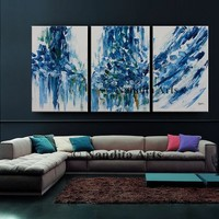 Blue Abstract Painting on Canvas by Nandita Albright, Unique Abstract Wall Art, Home Decor, Modern Painting, Large Wall Art Office Decor