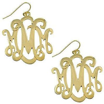 *Monogram Earring ~M~-Goldtone