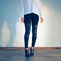 Womens leggings pants with leather patches