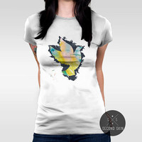 Support people of Ukraine  Screen printed Women's T-shirt. Available in XS,S,M,L,XL sizes.