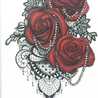 2017  Fashion Sexy Flash Waterproof Tattoo Women Henna Jewel Red Rose Sexy Henna Fake Temporary Tattoo (Size 21*15 cm) #HB-732