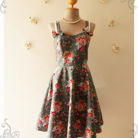 ALICE : Vintage Inspired Floral Dress Green with Red Pink Rose Floral Bridesmaid Dress Floral Summer Dress -Size XS,S,M,L,XL, Custom