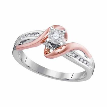 10kt White Rose Gold Womens Round Diamond Solitaire Bridal Wedding Engagement Ring 1/8 Cttw
