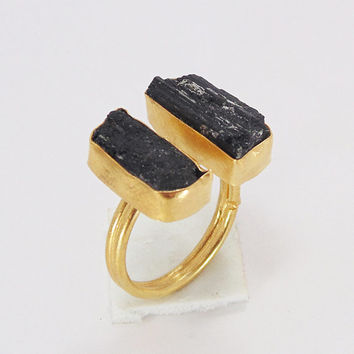 Handmade Ring - Black Tourmaline Ring - 22K Gold Plated Ring - Bezel Set Ring - Gemstone Ring - Rough Stone Ring - Adjustable Gold Ring