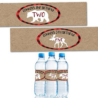 Little Moose Water Bottle Labels - Bear Cub Water Labels - Boy 1st Birthday Water Label - Water Tags - Water Bottle Sticker - Plaid Kraft
