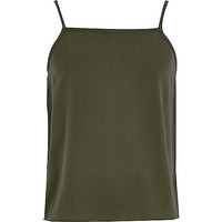 River Island Girls plain khaki green cami top
