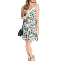 Green Floral Print Contrast Dress | $10 | Cheap Trendy Casual Dresses Chic Discount Fashion for Wome