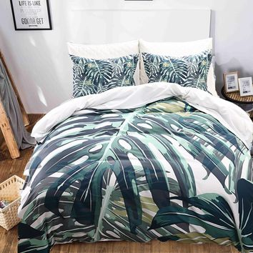 Cool Tropical Plants 3D Printed Bedding Sets Pillowcases Duvet Covers For Home Dorm BS116 Bed Set Twin Queen King Size 3 pcs/setAT_93_12