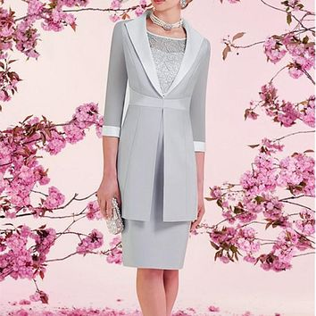 [103.99] Modest Satin Jewel Neckline Knee-length Sheath Mother Of The Bride Dresses With Detachable Coat - dressilyme.com