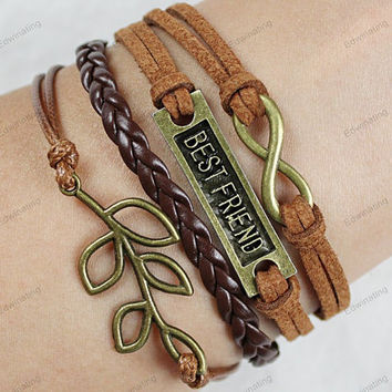 bestfriend tree bracelets -infinite friendship bracelets personalized bracelets charm bracelets best gifts for her or him 228
