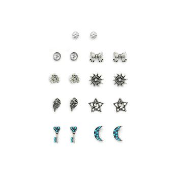 Bow & Leaf & Moon Design Stud Earring Set