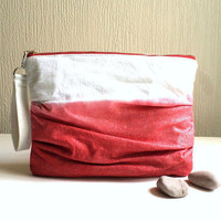 Coral red ombre, Vegan Pleated Clutch, ruffled wristlet, beautiful white metallic linen and silver sparkles,Detachable strap.Ready To Ship.