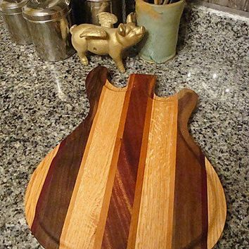 Handmade Wood Rockin Guitar Cutting Board - PRS Style - Black Walnut & Purpleheart