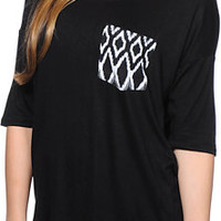 Lunachix White Tribal print Pocket Black Tee Shirt