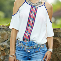 White Tribal Print Shoulder Cutout Half Sleeve Top
