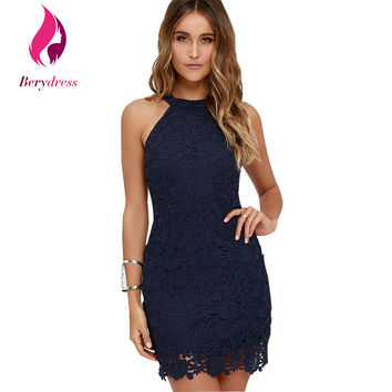 Berydress Womens Navy Blue Robe De Soiree Wedding Bodycon Party Dress Sexy Club Wear Burgundy Lace Dresses 2017 Halter Vestidos