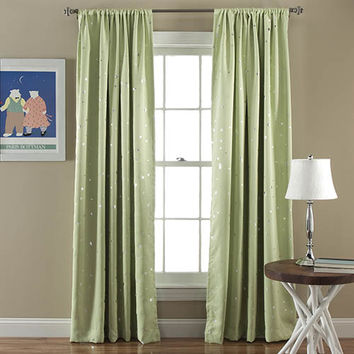 Lush Decor C24119P14-000 Star Green 84 x 52-Inch Blackout Window Panel Pair
