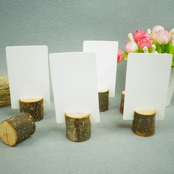 Round Wooden Tree Trunks Place Card Holders - 10pcs