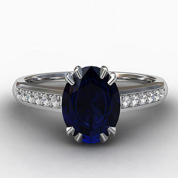 1.88ct GIA-Certificated unheated Ceylon Blue sapphire engagement ring, diamond engagement, oval sapphire, white gold, blue, solitaire