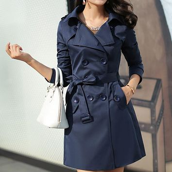 Women Trench Coat New Office Fashion Outerwear Double Breasted Belted Waist Turn-Down Collar Long Coat